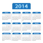 Spanish calendar for 2014 with world map on linen texture — Stock Vector