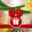 Red bow and red sticker with gift sign hanging on Christams tree — Vektorgrafik