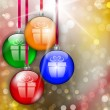 Hanging colorful Christmas baubles with gift sign — Imagens vectoriais em stock