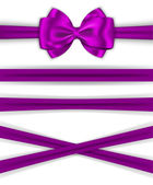 Red ribbons with luxurious bow for decorating gifts and cards — Stock Vector