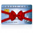 Credit or debit card design with red ribbon and bow — Stock Vector