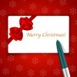 Merry Christmas card and pen on snowflake background — Stock Vector