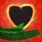 Cute Christmas background with heart shaped blank photo frame — Vector de stock
