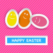 Stock Vector: Smiley Easter Eggs and Happy Easter greeting on stripes