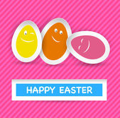 Smiley Easter Eggs and Happy Easter greeting on stripes — Stock Vector