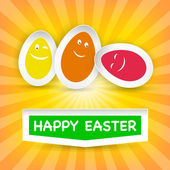 Smiley Easter Eggs and Happy Easter greeting on a cloud — Stock Vector