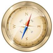 光沢のある黄金の羅針盤 — ストックベクタ