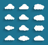 Flat design cloudscapes collection. Flat shadows — Stock Vector