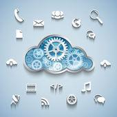 Gear wheel cloud and communication and network flat design — Vector de stock