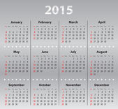 Light gray calendar grid for 2015 — 图库矢量图片