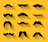 Vector set of mustaches with shadows — Stock Vector