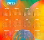 English Calendar for 2015 on abstract circles background — Stock Vector