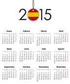 Spanish calendar grid for 2015 with flag like tag — Stock Vector