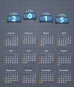 Stylish calendar for 2015 on linen texture with jeans tags — Stockvector