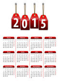 Spanish calendar for 2015 year with red hanging glossy tags — Vecteur