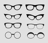 Glasses vector set. Retro, hipster styles — Stock Vector