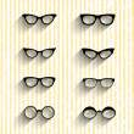 Flat design eyeglasses vector set with shadows on grunge stripes — Stock Vector #51373481