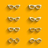 Flat design eyeglasses vector set with shadows — Stock Vector