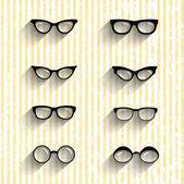 Flat design eyeglasses vector set with shadows on grunge stripes — Stock Vector