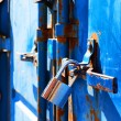 Blue rusty container, — Stock Photo