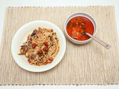 Tomato soup and fried rice — Stock Photo
