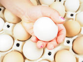 Little girls hand holding a chicken egg over a container of brow — Stock Photo