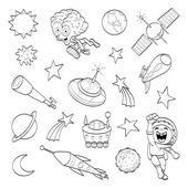 Cartoon outer space set (coloring book) — Stock Vector