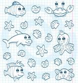Cute sea animals (coloring book) — Stock Vector