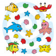 Cute sea animals — Stock Vector #13532560