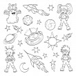Stok Vektör: Cartoon outer space set (coloring book)