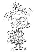 Zombie-meisje — Stockvector