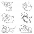 Collection of cartoon dogs — Stock Vector