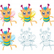 cartoon chibi fantasy creatures (monsters) — Stock Vector