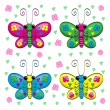 Cute cartoon butterflies and flowers — Stockvektor