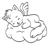 Cute sleeping angel-cat — Stock Vector