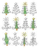 Doodle noel ağaçları — Stok Vektör