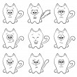 Cute cats emotions — Stock Vector