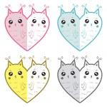 Cute owls-hearts — Stock Vector