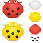 Origami ladybug creation kit — Stock Vector
