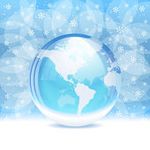 Vector transparent snow globe with map — Stock Vector