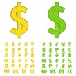 Stock Vector: Doodle currency symbols of world