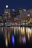 Sydney's Darling Harbor at night — Stock Photo