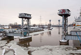 Old drawbridge in Kaliningrad — Stock Photo