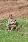 Military officer rests — Stock Photo