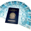 Stock Photo: New currency from Brazil and brazilipassport