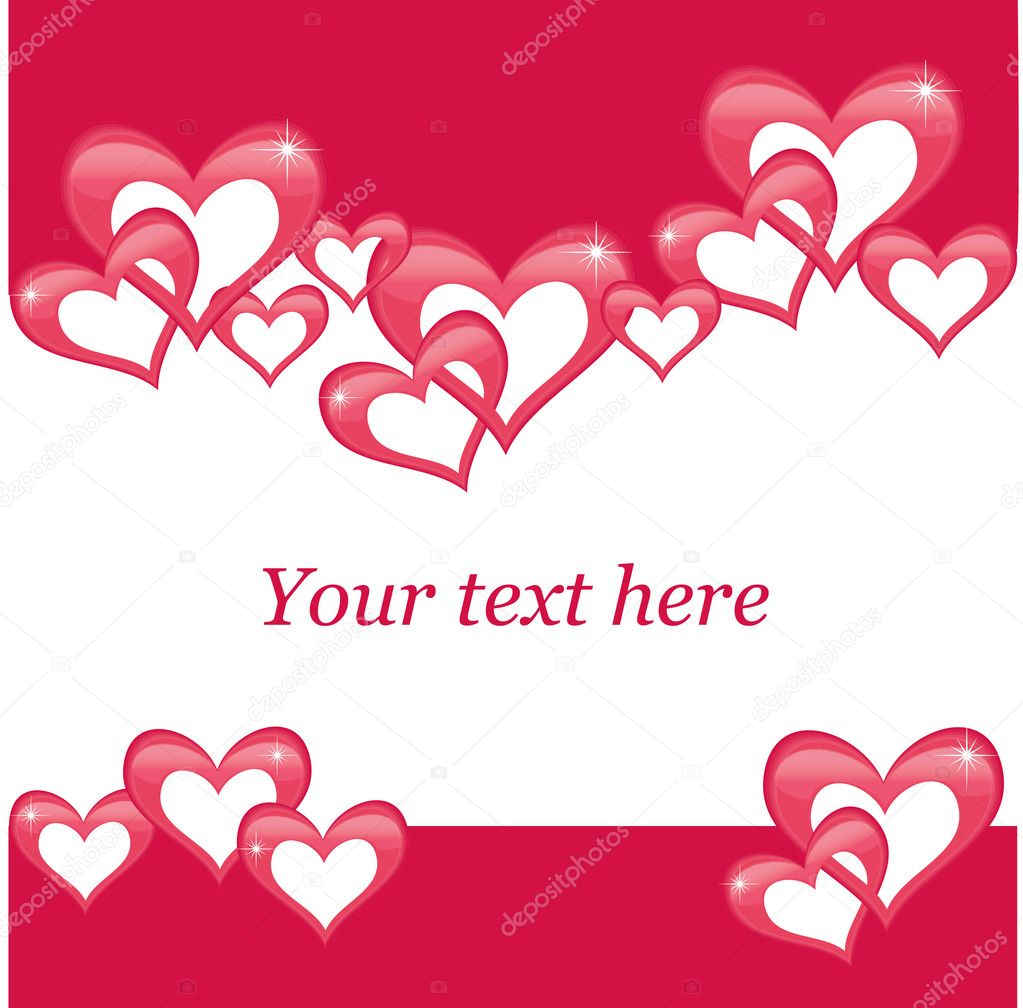 Valentine's day postcard with hearts on a red background — Stock Vector #19338217