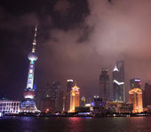 A Night View of the Oriental Pearl TV Tower in Shanghai, China — Stock Photo