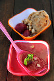 Red beet soup — Stock Photo