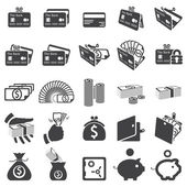Set of money icons — Stok Vektör