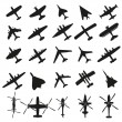 Stock Vector: Icons set Airplanes
